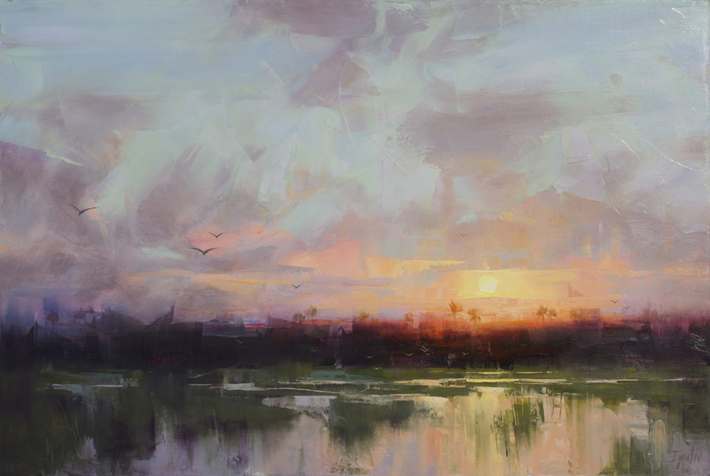 "First painting out of the car:   <a href=""https://huffharrington.com/collections/ignat-ignatov/products/ignat-ignatov-marsh-sunset"" target=""_blank"">Marsh Sunset, 24×36, $3,900</a>"