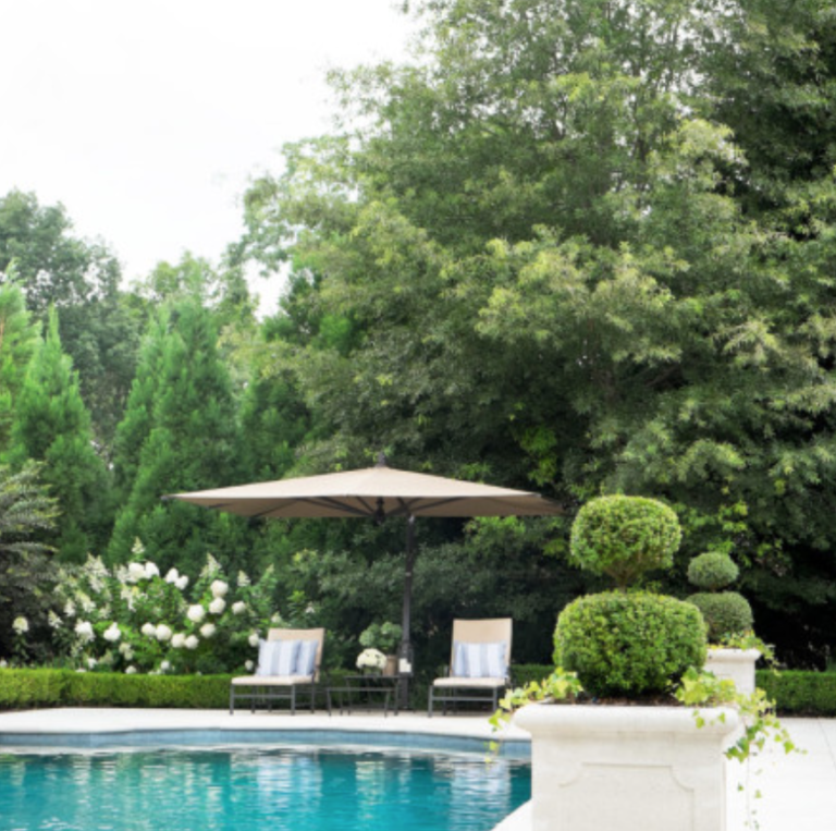 "This is so Atlanta – and we love it! Boxwoods, hydrangeas and a classic, simple pool. (<a href=""https://atlantahomesmag.com/"" target=""_blank"">Atlanta Homes and Lifestyles</a>/Erica George Dines)"