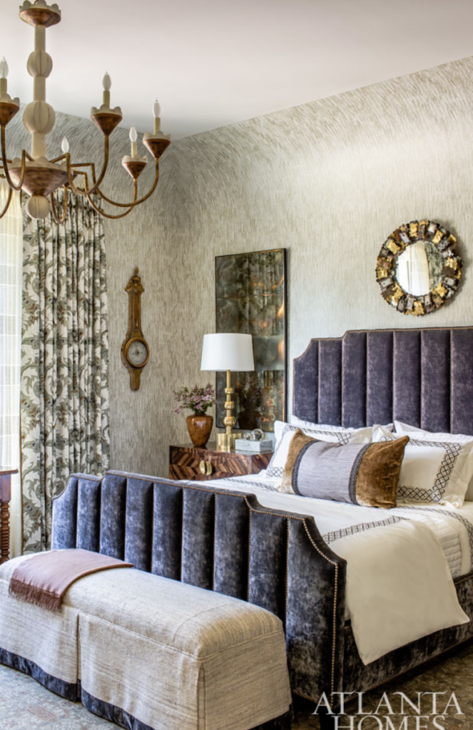 "<a href=""http://jessicabradleyinteriors.com/works.html"" target=""_blank"">Jessica Bradley</a> created a cozy cocoon in the master bedroom with a masterful mix of antiques and new pieces.  Love that barometer."