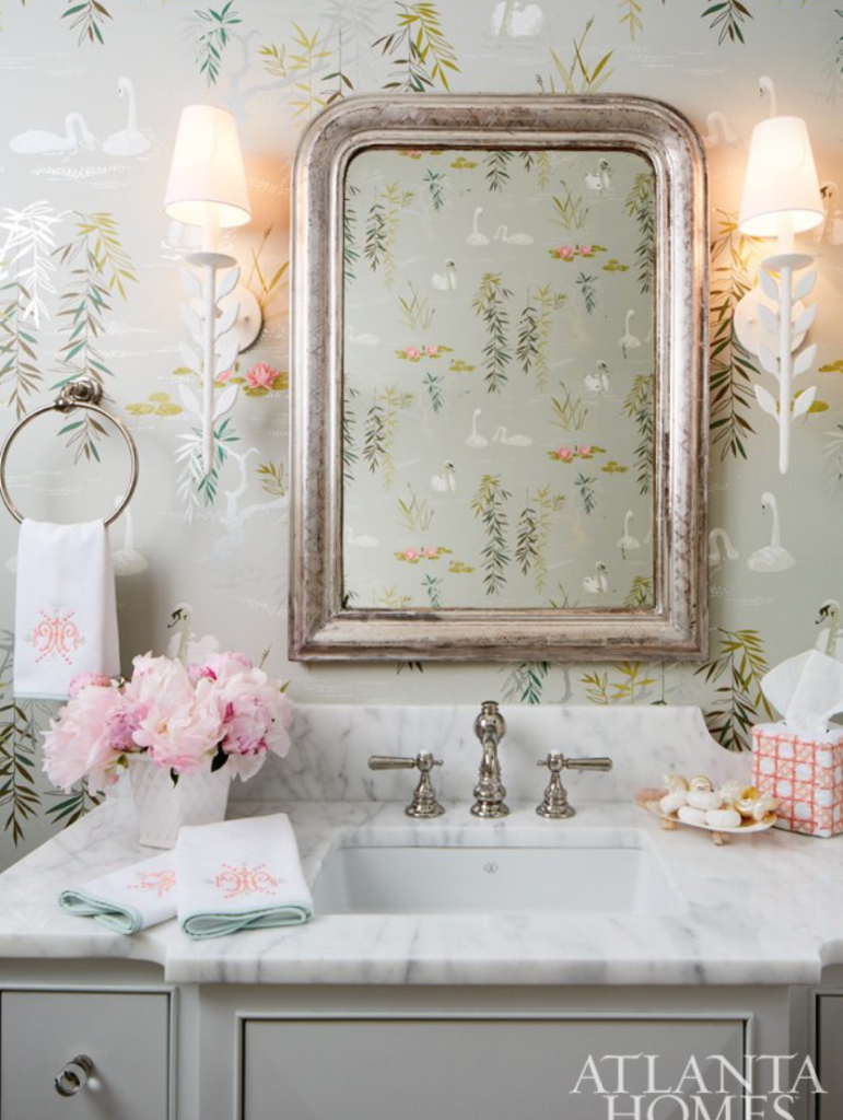 "This is probably the powder room that launched a thousand powder rooms!  From <a href=""https://www.margauxinteriorslimited.com/about/"" target=""_blank"">Clary Bosbyshell</a>."