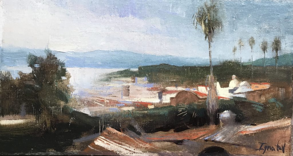 "Visiting friends in Mexico, Ignat painted this from the roof of his house. <a href=""https://huffharrington.com/collections/ignat-ignatov/products/ignat-ignatov-rooftops"" target=""_blank"">Rooftops 6.5 x 12 $900 Huff Harrington</a>"