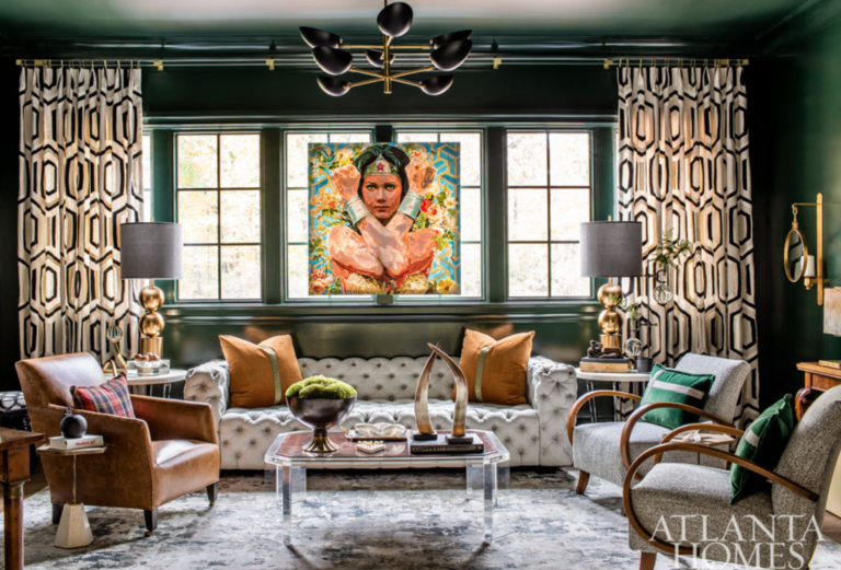 "The upstairs lounge by <a href=""http://davenportdesignsltd.com/services"" target=""_blank"">Lauren Davenport</a>. We love enveloping a room in a single, rich color – especially when it's a deep, dark green like this."