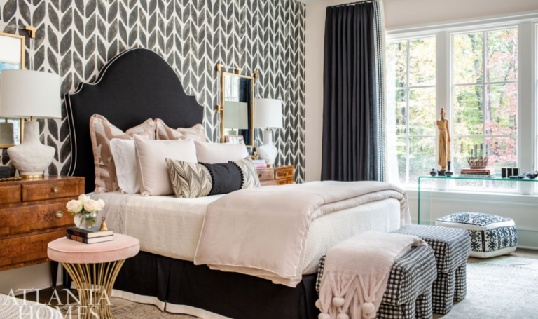 "The bubbly duo, <a href=""https://montgomerygratch.com/about/"" target=""_blank"">Montgomery Gratch</a>, wanted a bedroom that would be perfect for a well-traveled young lady who loves art and fashion.  We think they nailed it!"