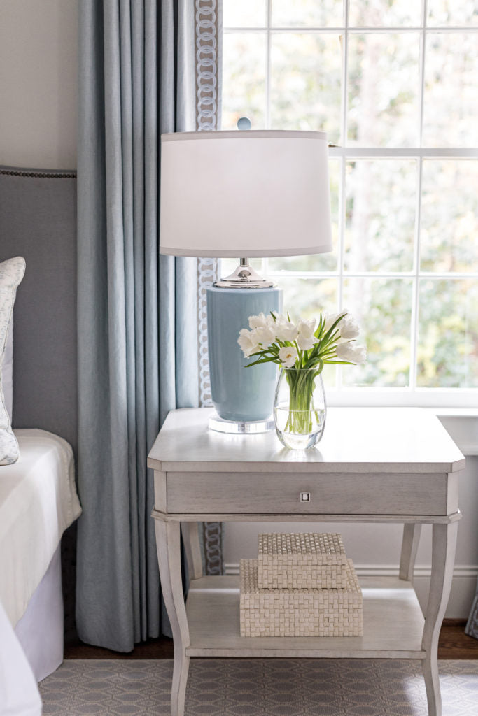 Love the detailing on the curtain panel and the soothing colors. Photo: Heidi Harris