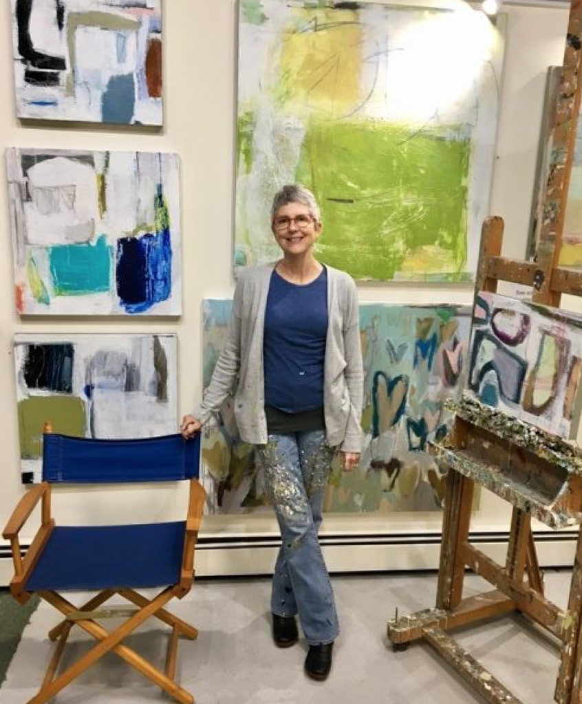Ellen Rolli in her studio. Abstracts galore!