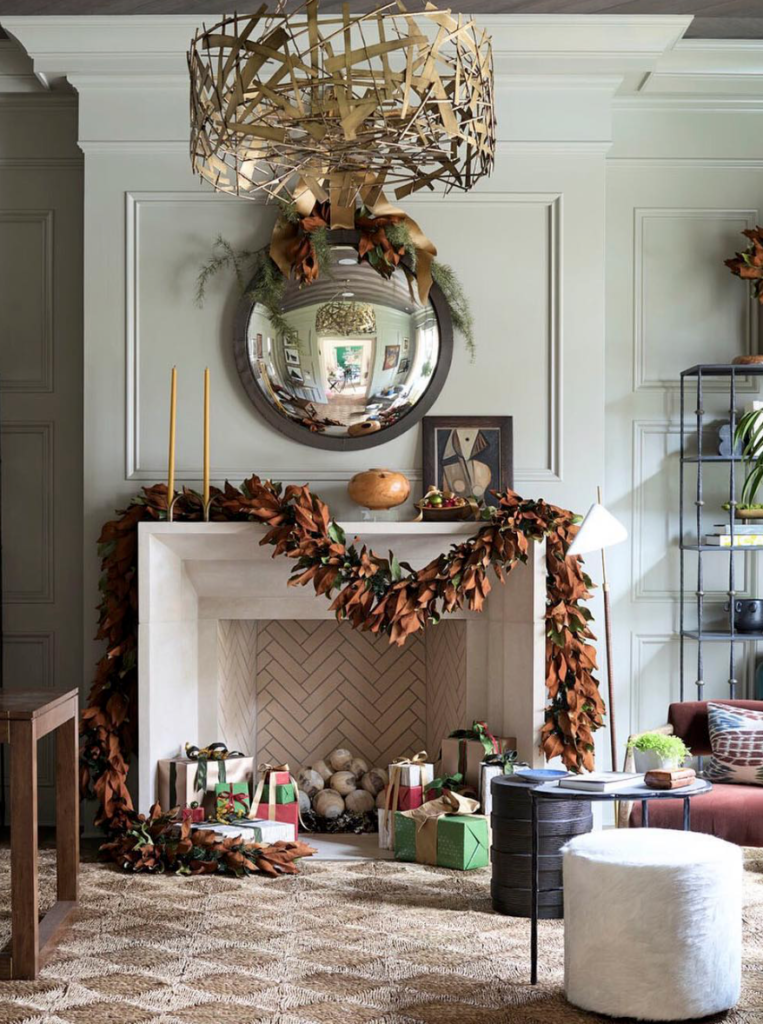 "Chris Holt decked this mantel out with plenty of magnolia.  (Atlanta Homes and Lifestyles <a href=""http://www.atlantaholidayhome.com/"" target=""_blank"">Home for the Holidays</a> showhouse/photo by dhcphoto-Instagram.)"
