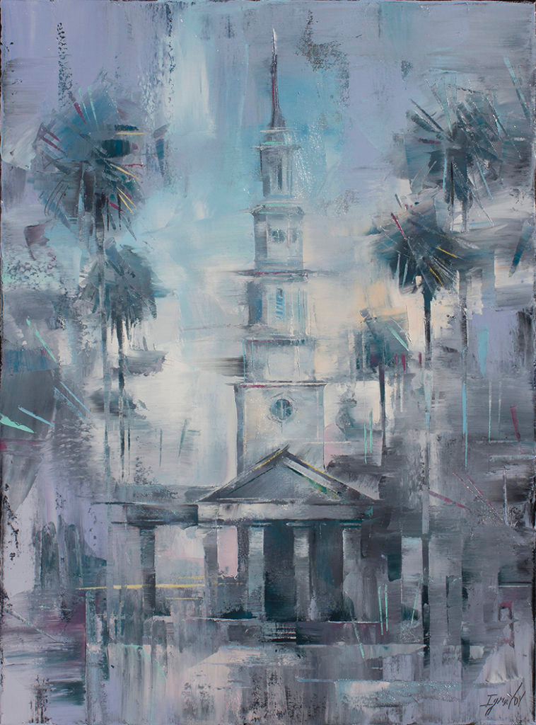 "Using a similarly limited palette, Ignat has captured the essence of <a href=""https://huffharrington.com/collections/ignat-ignatov/products/ignat-ignatov-st-phillips-in-blues"" target=""_blank"">St. Phillip's in Charleston, 24 x 18, $2,900</a>"