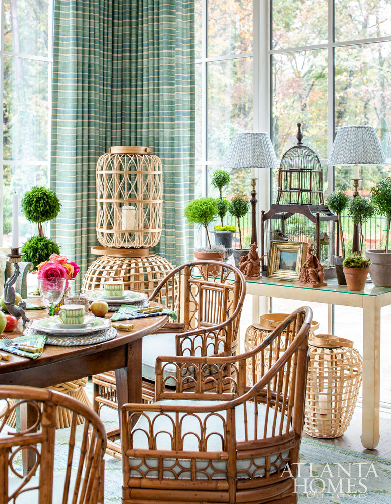 Margaret-Kirkland did a beautiful sun porch using lots of wicker accessories for the AH&L 2018 Holiday House