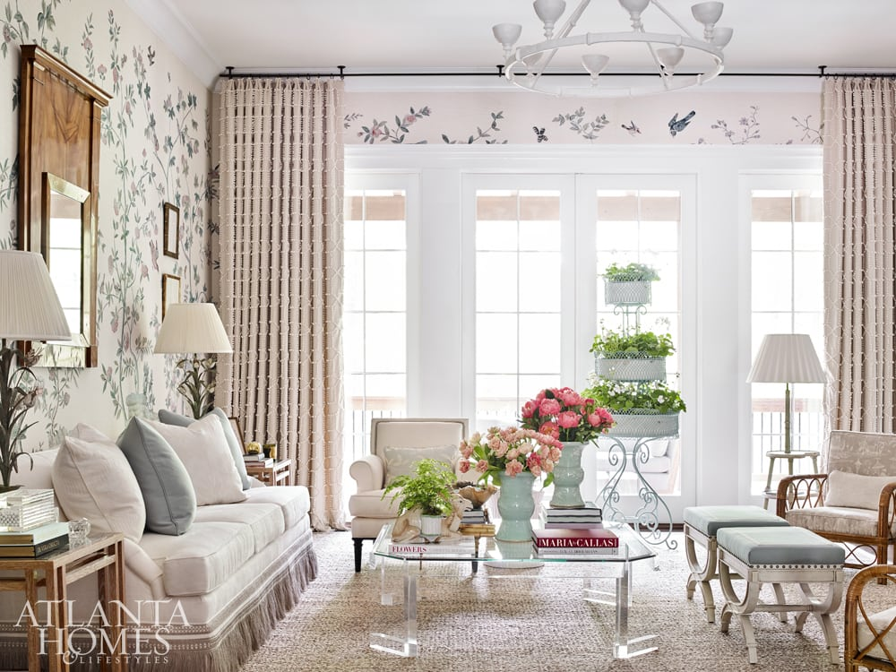 Beth Webb wove in some wicker armchairs in this pretty room featured in AH&L magazine