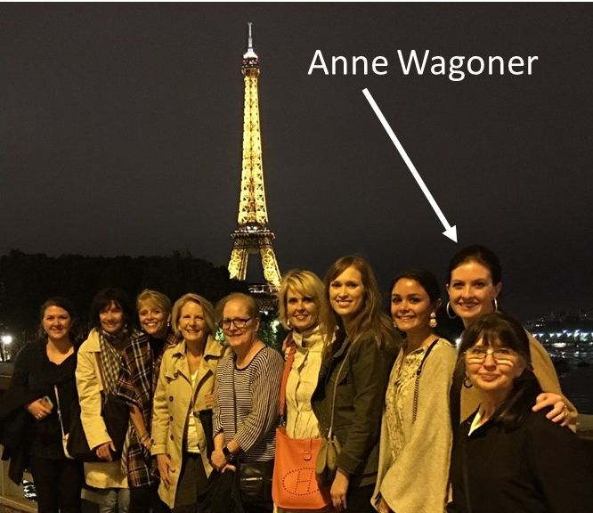 "Anne and the rest of the crew (minus our helper ""Catrine"") on our last night in Paris."