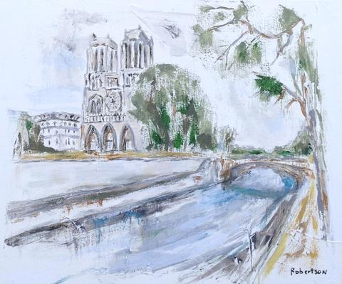 "<a href=""https://huffharrington.com/collections/sarah-robertson/products/sarah-robertson-cathedral-notre-dame-on-the-river-seine"" target=""_blank"">Cathedral Notre Dame</a>, by Sarah Robertson"