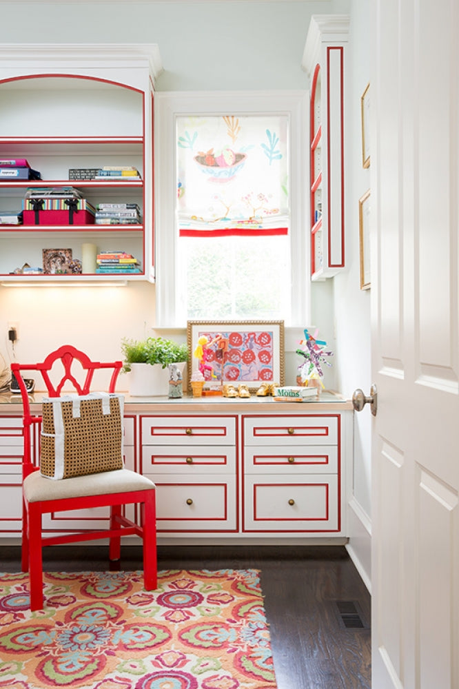 No detail is overlooked by Mallory Mathison's keen eye, as seen in this darling craft room with its red undertones.