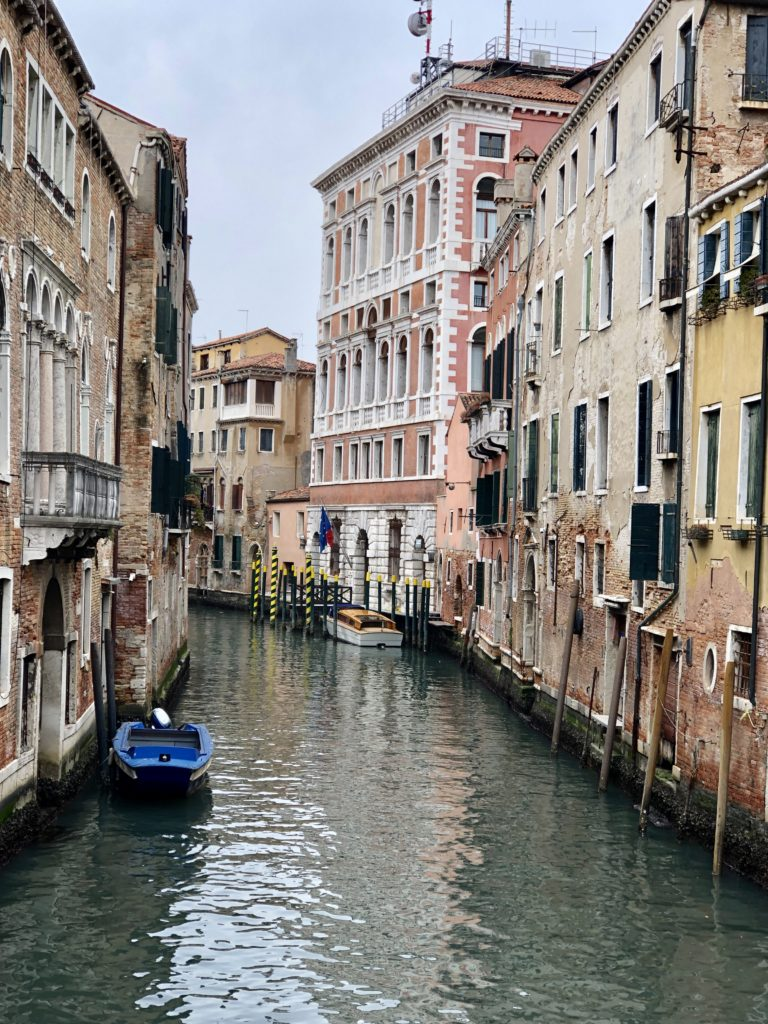 "This photo from one of the back alleys reminds me of the humorist Robert Benchley's famous telegram to his editors at the New Yorker magazine after arriving in Venice, ""Streets full of water. Please advise."""
