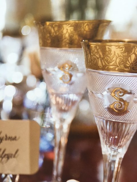 "These monogrammed goblets are just spectacular.   From <a href=""https://huffharrington.com/collections/books/products/monograms-for-the-home"" target=""_blank"">Monograms at Home</a>."