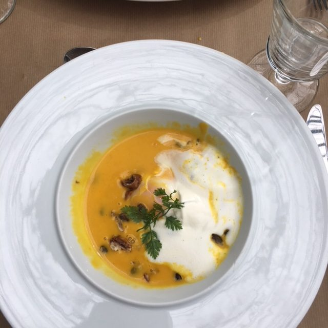 My very favorite thing to eat in France: soupe de potimarron, a happy cross between butternut squash and pumpkin soup. At the Jardin du Quai, they throw in a soft-boiled egg and fresh chestnuts.