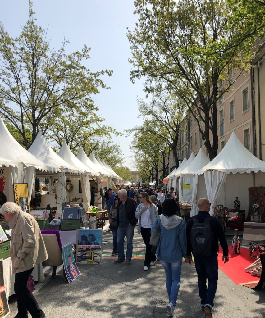 "The fair in Isle sur la Sorgue:  Trudy said, ""Why don't our tents have cute pointy heads like these?"""
