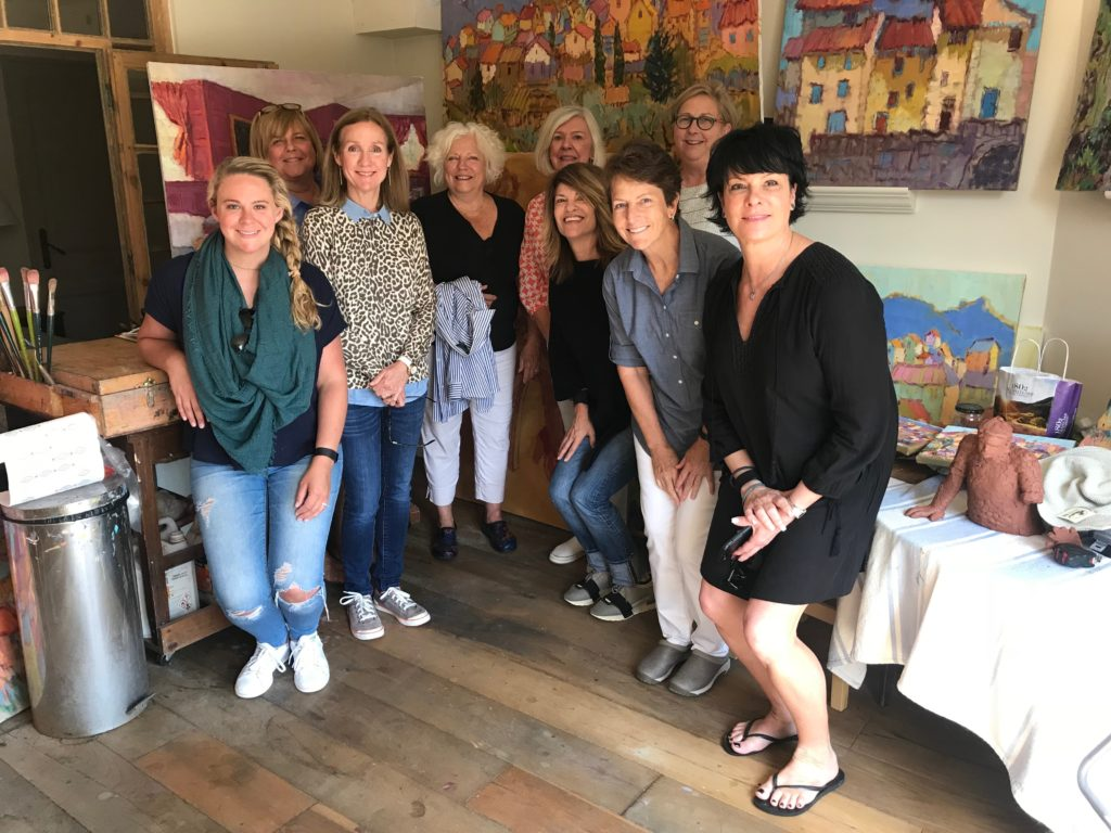 The group of ladies from our trip visiting Alice Williams in her Provence studio