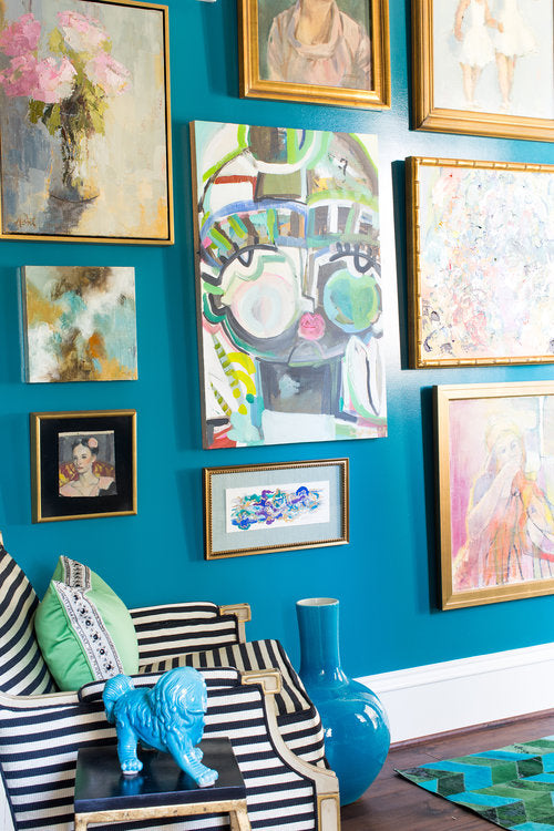 "If you can't go for the biggy, start small and collect what you love, like in this gorgeous art wall created by <a href=""https://mallorymathison.com/"" target=""_blank"">Mallory Mathison Interiors</a>."
