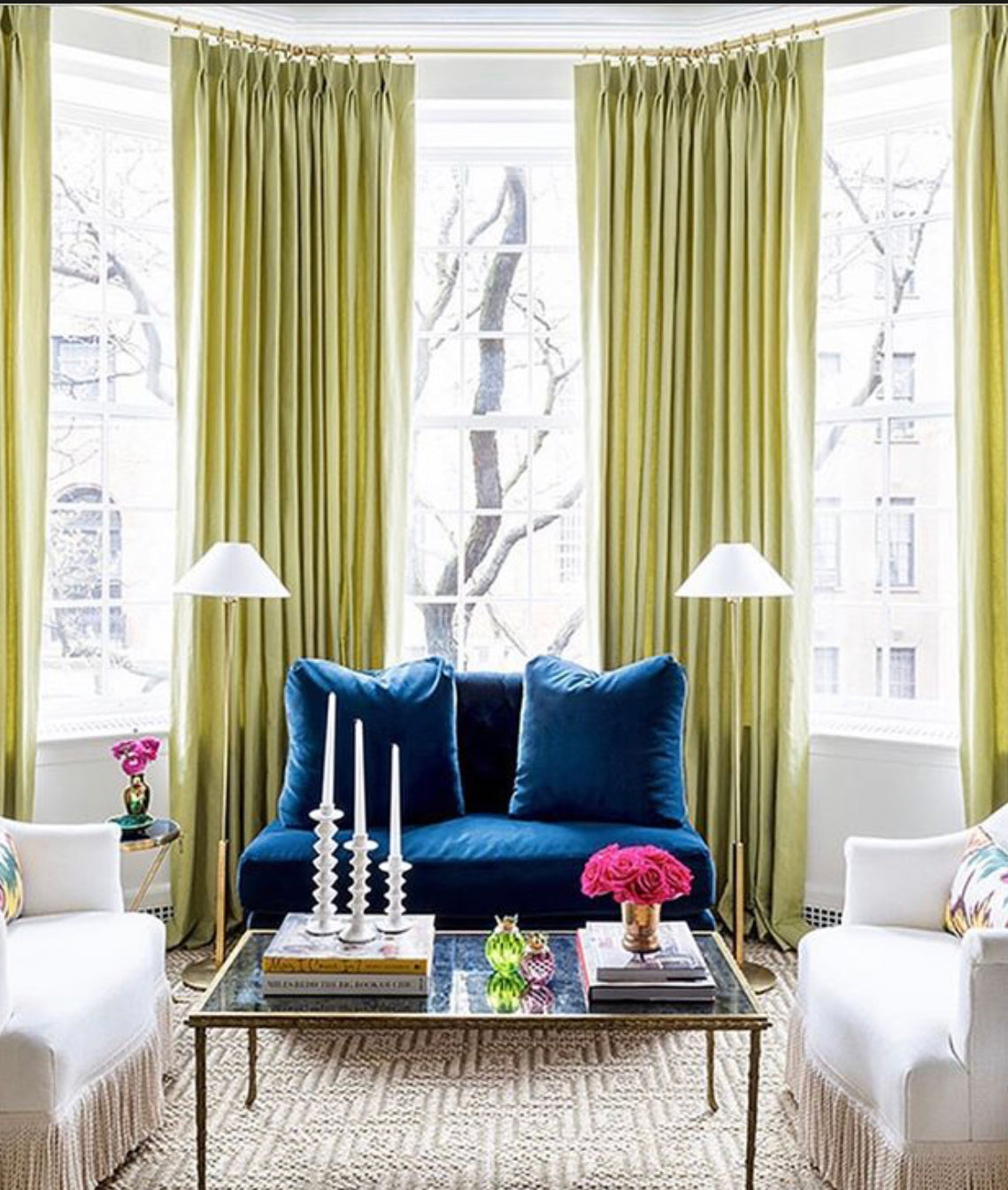 "In Paloma's words : ""Green is Good! I love just about every hue of green. This spring, I found myself craving chartreuse in particular and knew that the bold hue would be ideal for adding a little drama to my room at the Kips Bay show house. While the color is energizing, I also find it to be soothing and elegant, which I find so interesting. Isn't the power or color incredible?"" Drapes by @theshadestore"