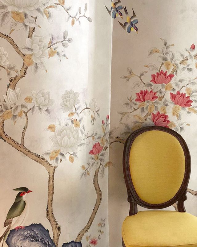 "A close up of the glorious ""Japanese Garden"" Degournay wallpaper shown with an 18th C. Adams chair. Photo @palomacontrerasdesign"