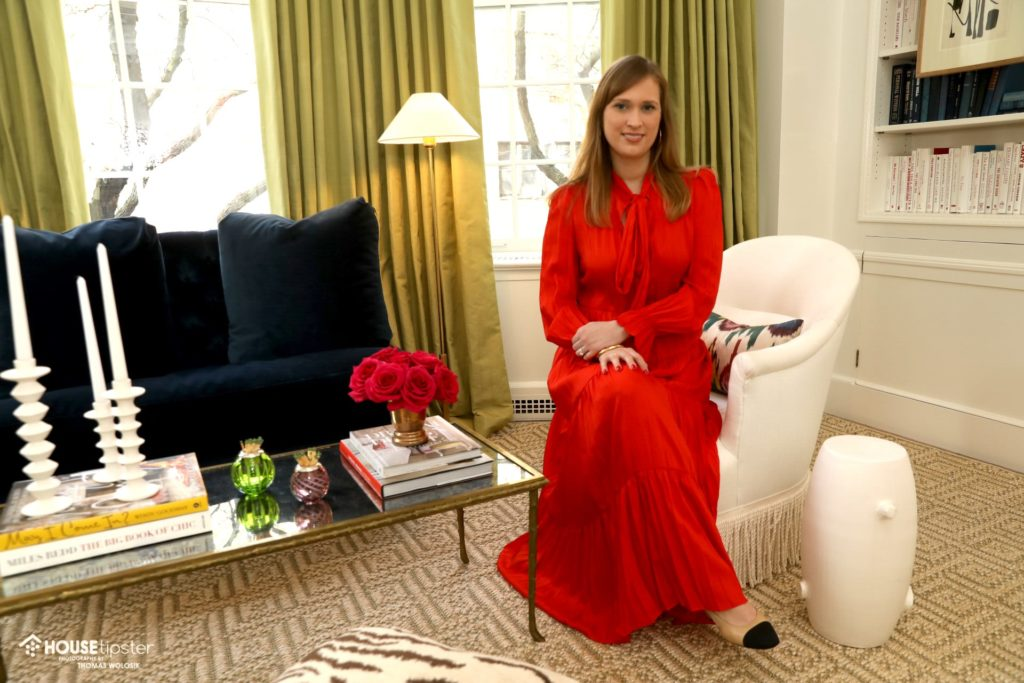 Houston based designer, posing in her room at the Showhouse for HouseTipster blog.