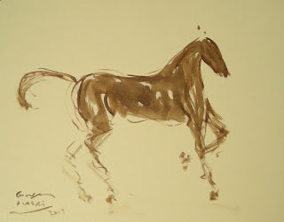 Purposeful Pony, Georges Nasri, watercolor, 16 x 20""