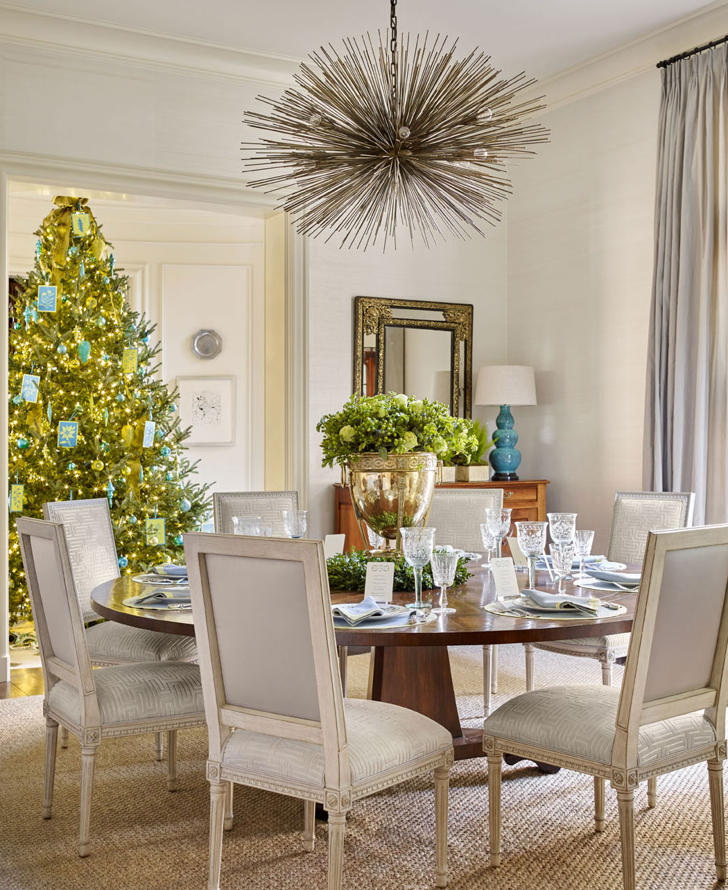 "<a href=""http://huffdewberry.com"" target=""_blank"">Will Huff and Heather Dewberry </a>added shots of turquoise and chartreuse to their holiday palette for a Buckhead client. From <a href=""http://www.traditionalhome.com/category/beautiful-homes/holiday-home-dressed-shades-blue"" target=""_blank"">Traditional Home</a> (photo by Emily Followill.)"