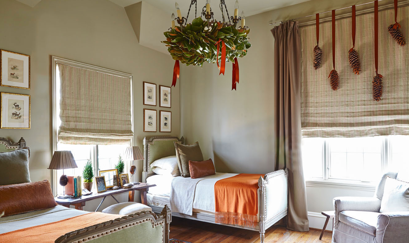 "And how fun to bring the holiday decor to the unexpected spots, like the <a href=""http://www.traditionalhome.com/category/beautiful-homes/holiday-whispers-alabama-home?page=14"" target=""_blank"">bedrooms</a>."