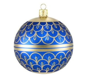 "A bright blue <a href=""https://huffharrington.com/collections/decor/products/blue-faberge-ornament"" target=""_blank"">ornament</a>."