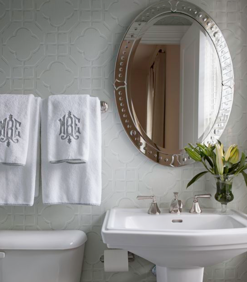 "Simple, but oh so elegant, monogrammed bath linens from <a href=""http://www.margauxinteriorslimited.com/"" target=""_blank"">Margaux Interiors</a>."