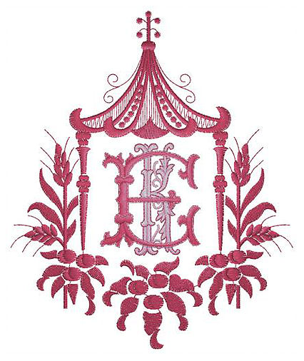 "An intricate monogram from our friends at <a target=""_blank"" href=""https://www.southofhampton.com/"">South of Hampton</a>."