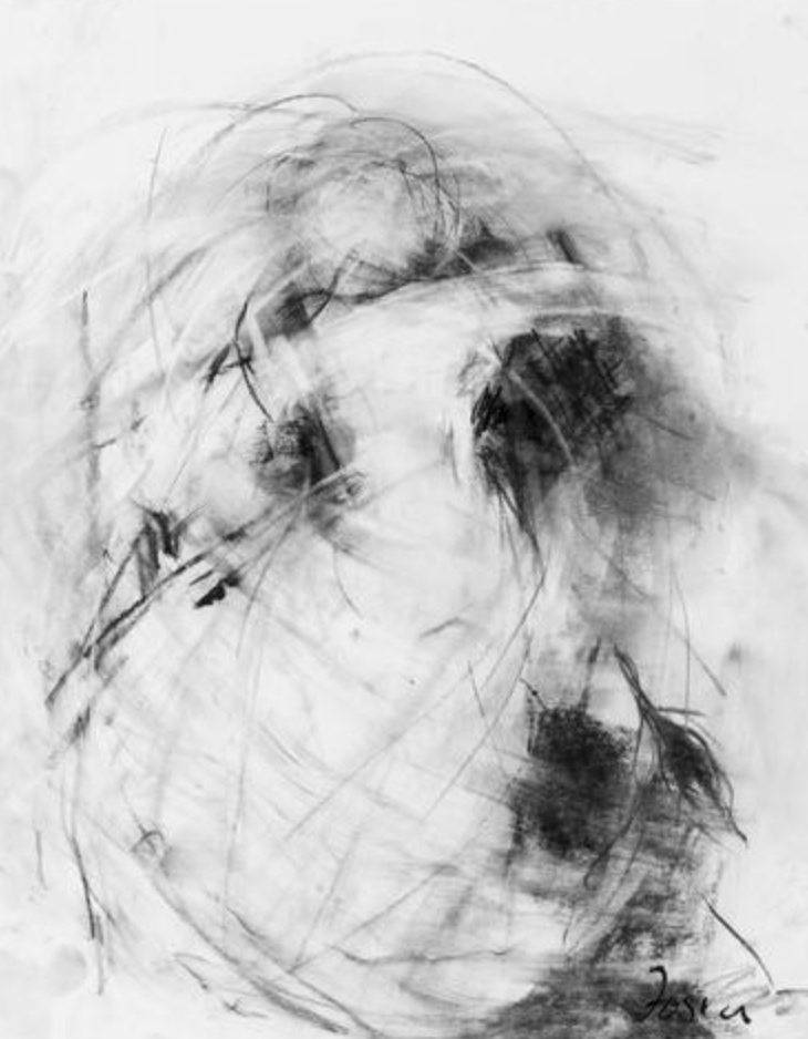 "<a href=""https://huffharrington.com/collections/gail-foster/products/gail-foster-currents-ii"" target=""_blank"">Currents II.</a>  Charcoal on paper, 17 x 14.  We love the movement and energy of this painting."