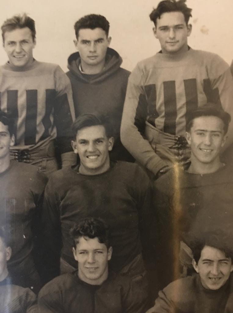 Our dad (middle with the big grin), in high school. He had one brilliant, irresistible smile that lit up a room.