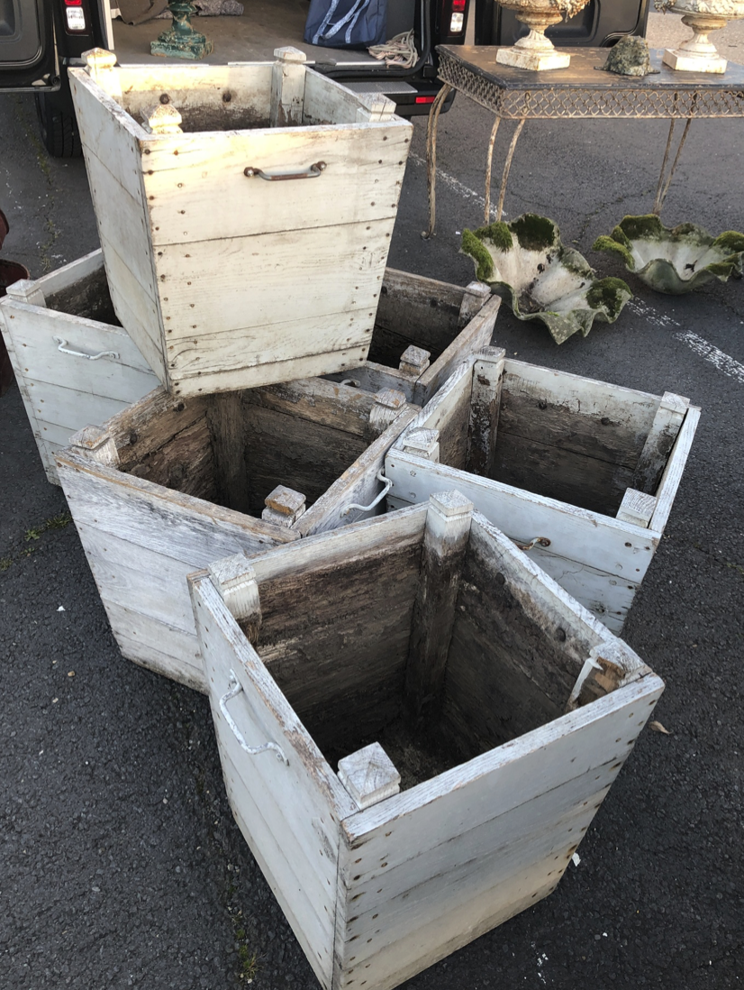 Six pale blue wooden planters (that have stolen my heart)
