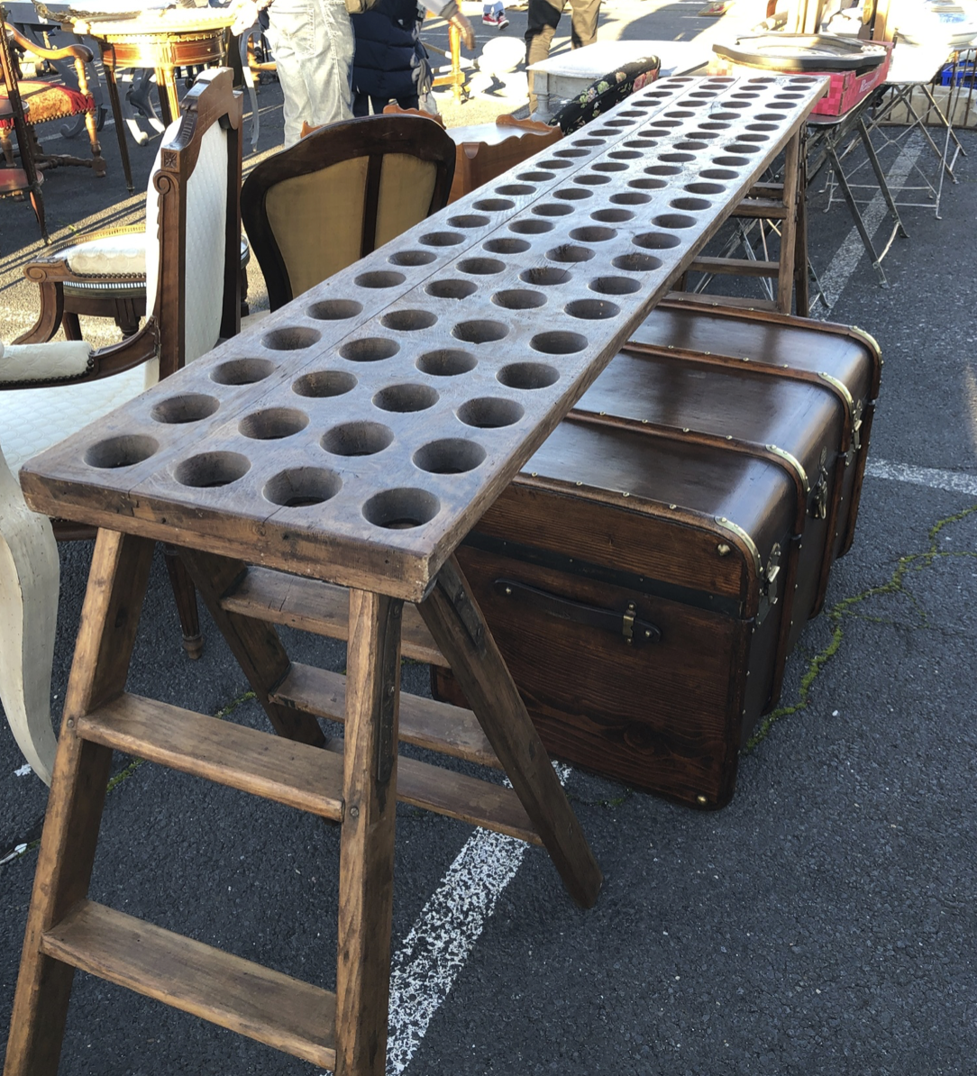 This is a super fun console made from a couple of old crunchy ladders and a vintage wine rack.