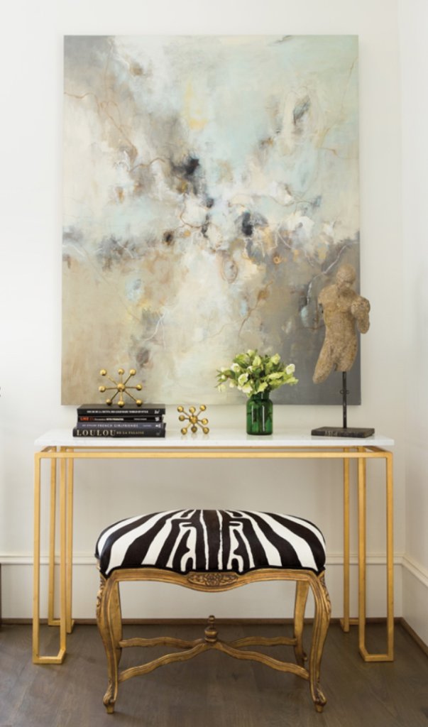 "A little vignette we did at the inaugural <a href=""https://atlantahomesmag.com/article/southern-showstopper/"" target=""_blank"">Southeastern Designer Showhouse.</a> Art took center stage with an ethereal abstract by <a href=""https://huffharrington.com/collections/christina-doelling"" target=""_blank"">Christina Doelling</a>."