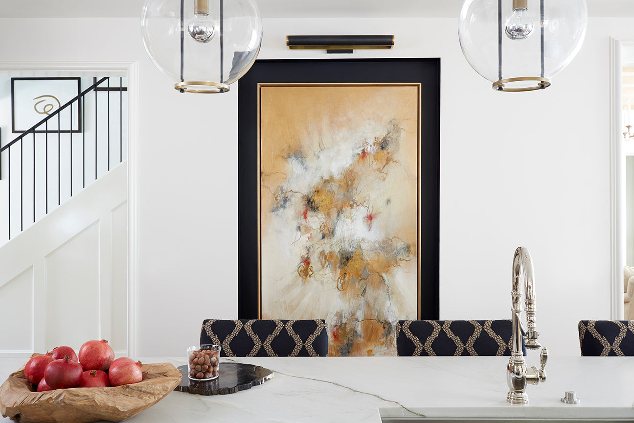"Shayelyn Woodberry, a talented Atlanta designer, reframed this piece by <a href=""https://huffharrington.com/collections/christina-doelling"" target=""_blank"">Christina Doelling</a> to protect and enhance it for the Atlanta Homes & Lifestyles Holiday House in 2016."