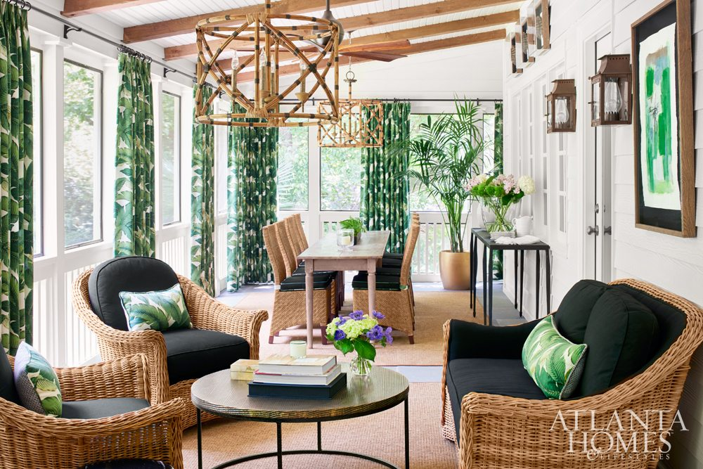 Wonderful Atlanta based designer Shayelyn Woodbery redid a screaned porch in wicker and bamboo (AH&L magazine)
