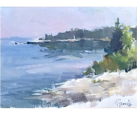 "<a href=""https://huffharrington.com/collections/nancy-franke/products/nancy-franke-sparkling-morning-maine"" target=""_blank"">Nancy Franke, Morning in Maine</a>."