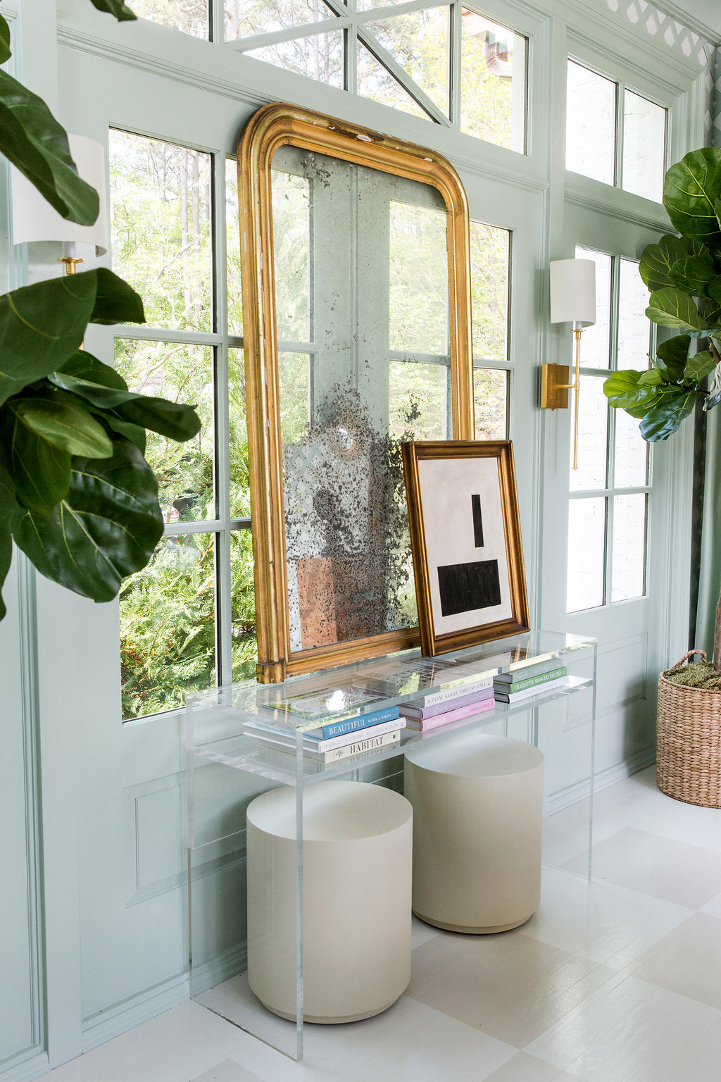 Every room should have at least one antique (and we love the juxtaposition of the Louis Philippe mirror and the lucite console – so chic). Photo by Anna Routh (http://annarouth.com)