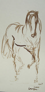 Trotting Forward, Georges Nasri, watercolor on paper, 16 x 8""