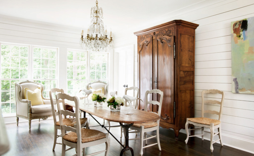 But a crystal chandelier, a gorgeous French armoire and some fabulous art took it a big step further. Erica Dines photo.