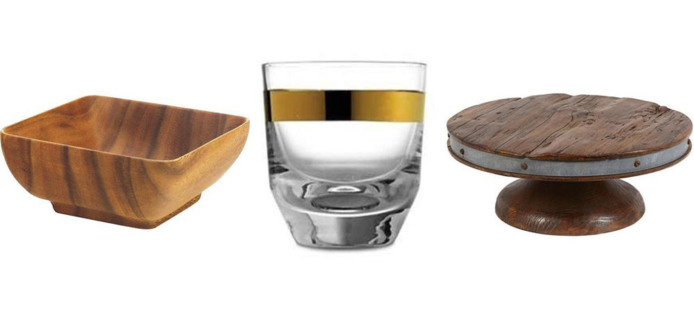 """1. <a href=""""https://huffharrington.com/collections/tableware/products/copy-of-acacia-wood-square-bowl"""" target=""""_blank"""" rel=""""noopener"""">Acacia Wood Bowl</a>, 2. <a href=""""https://huffharrington.com/collections/tableware/products/arte-italica-semplice-dof"""" target=""""_blank"""" rel=""""noopener"""">Arte Italica Glass</a>, 3. <a href=""""https://huffharrington.com/collections/tableware/products/saddle-cake-stand"""" target=""""_blank"""" rel=""""noopener"""">Bordeaux Cake Stand</a>"""