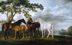 Mares and Foals in a River Landscape, by George Stubbs, circa 1763-8