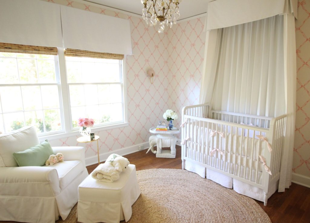 The darling nursery … oh and wait, don't we recognize the glider, the chandelier, the side table and belly blankets?  Why this could be an ad for Huff Harringon Home!