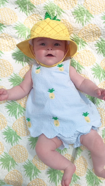 Little miss pineapple had us all giggling over this adorable picture in her new Huff Harrington pineapple hat!