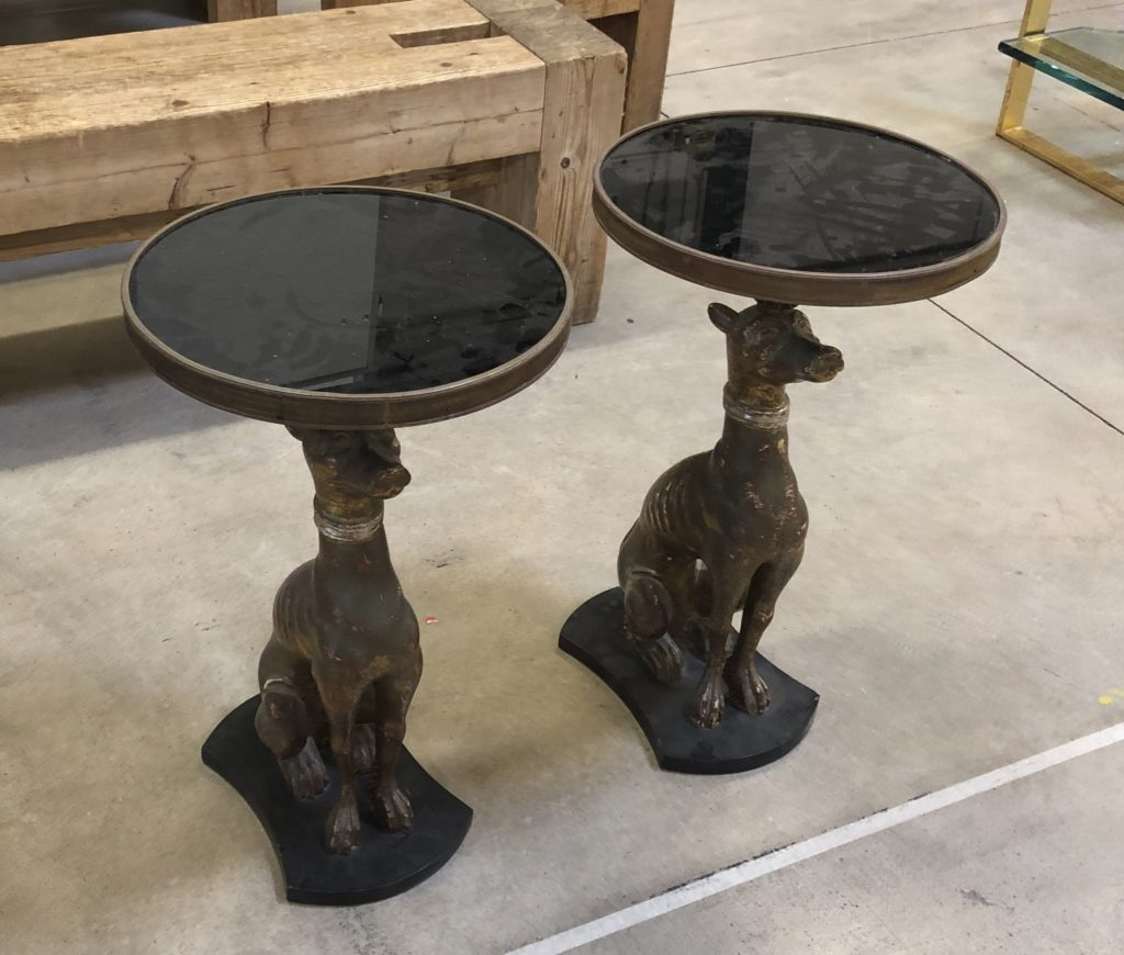 These vintage Madeleine Castaing style tables were posing regally for us at the fair, but oh my, were they dusty!