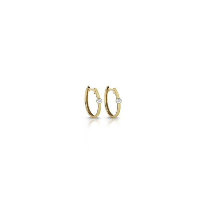14K 1 Diamond Huggie Earrings