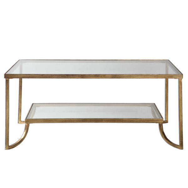Glass and Gold 2 Tier Coffee Table