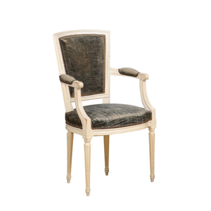 White Louis XVI Arm Chair With Green Strie Velvet